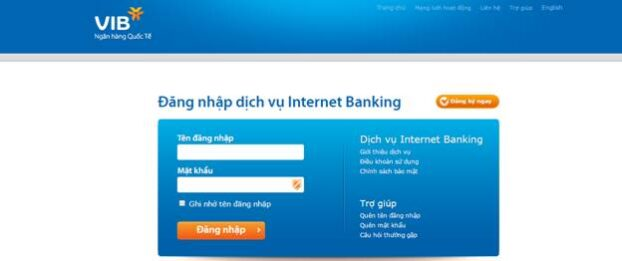 Giao diện Internet Banking của VIB