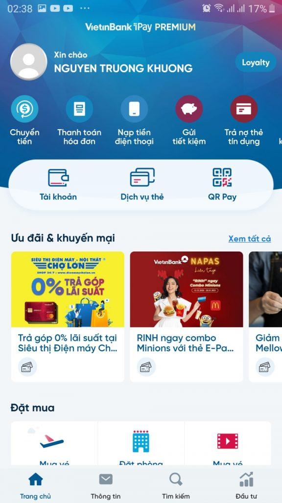 chọn gửi tiết kiệm trong giao diện vietibank ipay