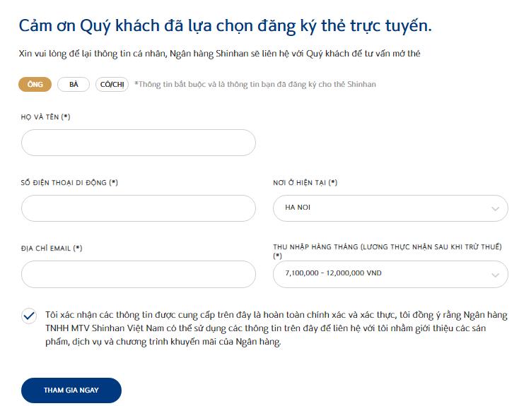 dang ky mo the tin dung shinhan bank online