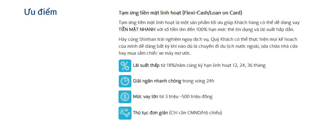 ung tien mat linh hoat shinhan bank
