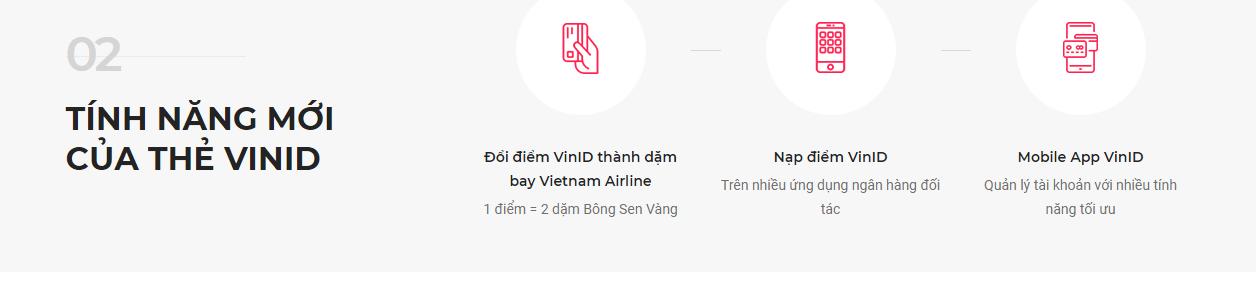 tiện ích mới của thẻ VinID