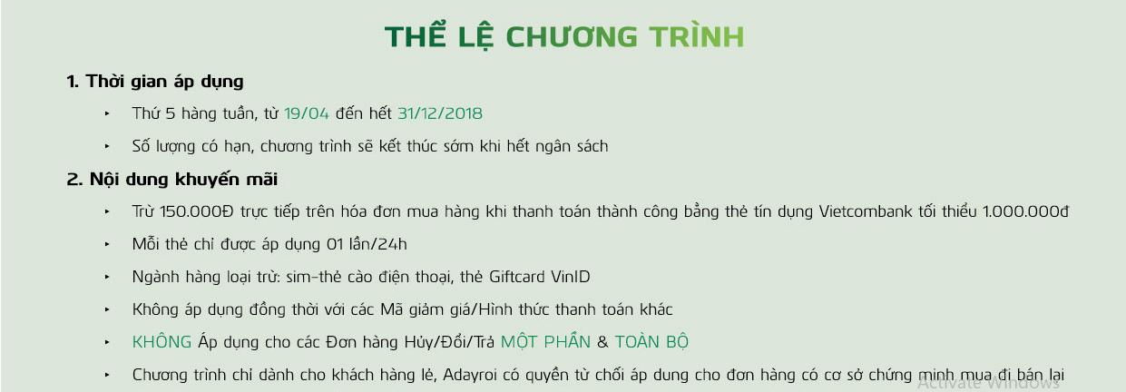 uu dai danh cho chu the tin dung vietcombank tren adayroi