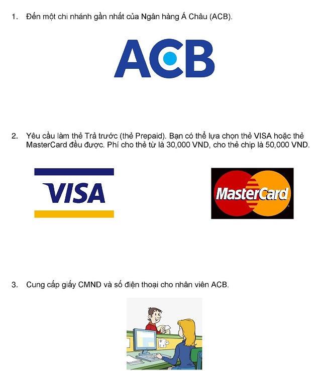 Các bước làm thẻ trả trước VISA ACB