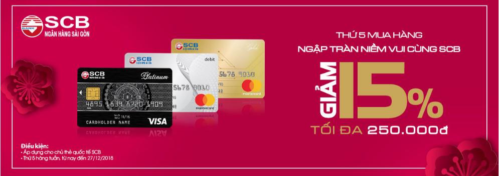 ưu đãi thẻ tín dụng SCB tháng 12