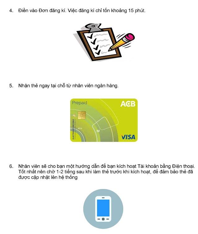 các bước làm thẻ trả trước Visa ACB 1