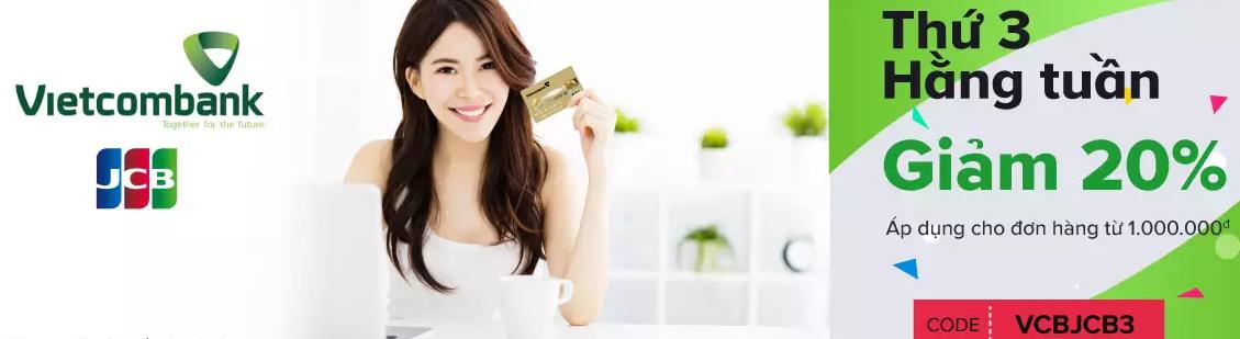 ưu đãi thẻ tín dụng vietcombank trên lazada
