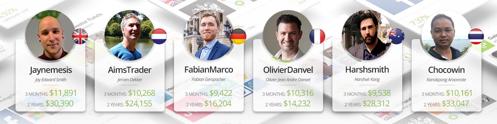 Số tiền nhận được từ $10K nếu copy những nhà đầu tư thành công