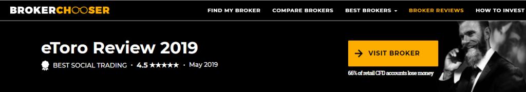 Đánh giá sàn eToro của Brokerchoose 4.5/5 sao