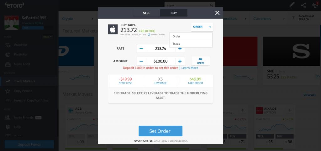 Đánh giá eToro - Giao diện đặt lệnh