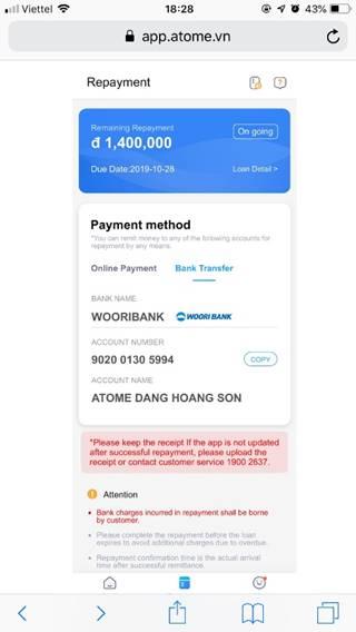 ứng dụng vay tiền nhanh online atome credit
