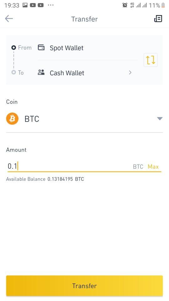 Chuyển BTC vào ví P2P của Binance 2